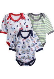 Body Para Bebê Kit Com 3 Peças Era Uma Vez Estampado