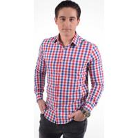 1cfa853c29 Camisa Xadrez Masculina Slim Social - Masculino-Vermelho