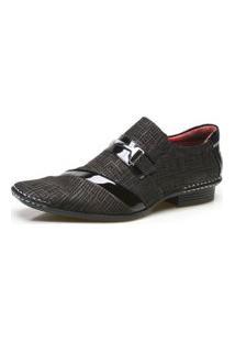 Sapato Social Masculino Calvest Em Couro Com Textura Tear - 1750D426 Preto
