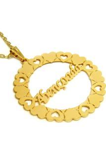 Gargantilha Horus Import Pingente Manuscrito Abençoada Banho Ouro Amarelo
