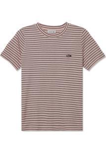 Camiseta Lacoste Listrada Rosa - Rosa - Feminino - Dafiti
