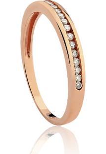 Meia Aliança Ouro Rosé E Diamantes