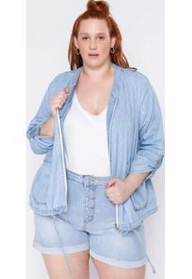 Jaqueta Almaria Plus Size Clamarroca Bomber Jeans