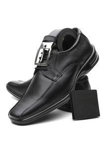 Sapato Social Masculino Em Couro Máximo Conforto Brindes Cinza