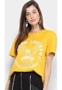 Camiseta Triton Águia Manga Curta Feminina - Feminino-Amarelo Escuro