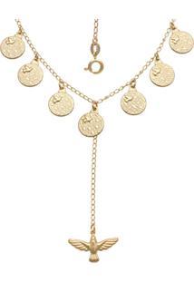 Gargantilha Prata Mil Com 7 Dons E 1 EspãRito Santo Dourado - Dourado - Feminino - Dafiti