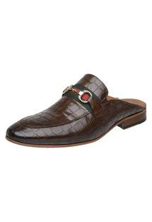 Sapato Masculino Slipper Mule Malbork Couro Croco Marrom 5850 Café