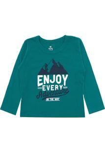 Camiseta Hering Kids Menina Escrita Verde