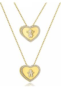 Colar Duplo Coração Com Casal 3Rs Semijoias Folheado A Ouro 18K