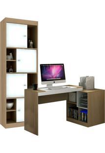 Escrivaninha Com Estante Home Office V Avelã E Branca