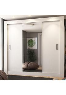 Guarda-Roupa Casal 2 Metros 3 Portas De Correr Com Espelho Londres Ultra Branco - Pnr Móveis