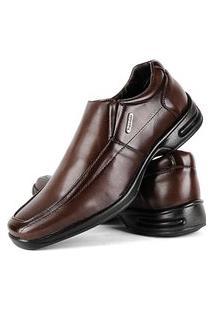 Sapato Social Confort Bico Quadrado Marrom