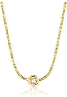 Colar Toque De Joia Ponto De Luz Pequeno Zircônia Ouro Amarelo - Feminino-Dourado