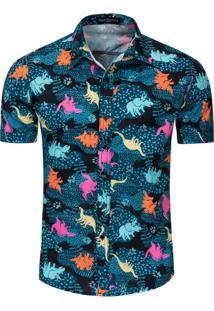 Camisa Estampada Dinosaur - Azul M