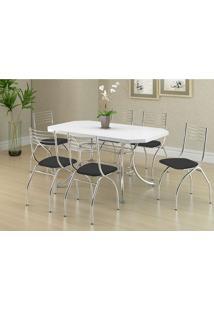 Conjunto Mesa 1507 Branca Cromada Com 6 Cadeiras 146 Preta Carraro