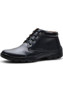 Bota Cano Curto Over Boots Urbana Couro Conforto Preto
