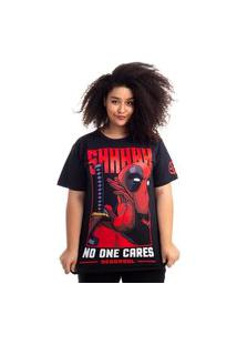 Camiseta Plus Size Deadpool - No One Cares Preto