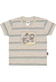 Camiseta Pulla Bulla Meia Malha Cinza