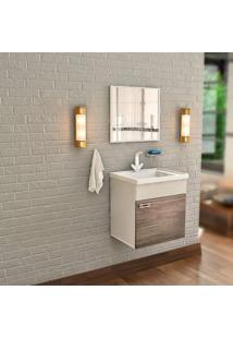 Gabinete De Banheiro Com Lavatório E Espelheira Nunki 31,5X39,5Cm Munique Cerocha