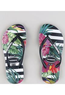 f1836efe8 Chinelo Infantil Havaianas Estampado Listrado E Floral Preto