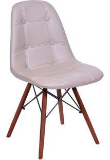 Cadeira Eames Botonê- Fendi & Madeira Escura- 83X44Xor Design