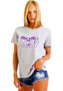 Camiseta Feminina Joss Eyes Roxo Cinza Mescla