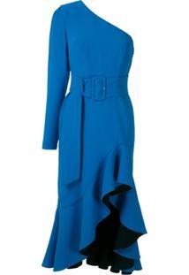 Reinaldo Lourenço Vestido Midi Fenda De Babados - Azul