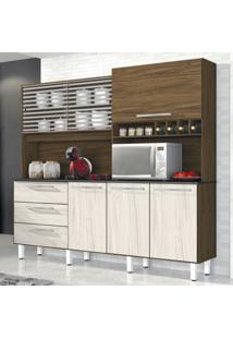 Armário De Cozinha 6 Portas 3 Gavetas Mega Siena Móveis Nogal/Nevada
