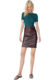 Saia Midi Leather Cinto Com Argola