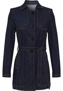 Trench Coat Jeans Escuro Canellado