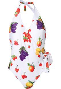 Msgm Fruit Patterned One-Piece - Branco