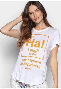 Camiseta Coca-Cola Element Of Hapiness Feminina - Feminino-Branco