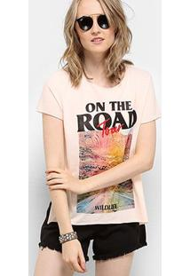 Camiseta Drezzup Estampada Fenda Lateral Feminina - Feminino