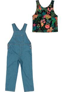 Conjunto Jardineira Jeans E Cropped Infantil Azul