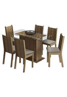 Sala De Jantar Madesa Base De Madeira Com Tampo De Vidro E 6 Cadeiras Molly - Rustic/ Pérola Marrom