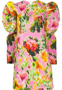 Msgm Vestido Com Estampa Floral Abstrata - Rosa