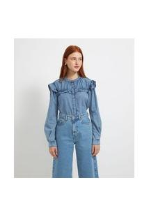Camisa Manga Longa Jeans Lisa Com Babados   Blue Steel   Azul   G