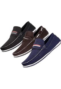 Kit 3 Pares Mocassim Dockside Casual Valesconi Calçados Preto