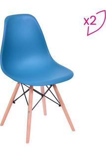 Jogo De Cadeiras Eames Dkr- Azul Petrã³Leo & Bege- 2Por Design