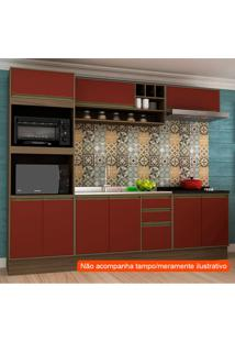Cozinha Compacta Safira 9 Pt 3 Gv Vermelha E Avelã