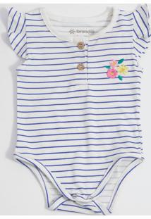 Body Infantil Bebê Listrado Bordado Flores Brandili