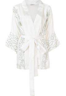 P.A.R.O.S.H. Kimono Com Paetês - Branco