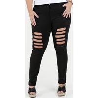 7066f2159 Calça Feminina Jeans Skinny Destroyed Plus Size Razon