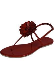 Rasteira Mercedita Shoes Verniz Flor Feminina - Feminino-Vermelho