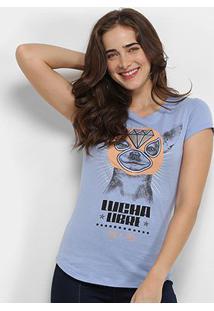 Camiseta Lez Lez Lucha Libre Feminina - Feminino-Azul Claro