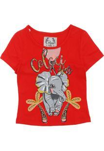Camiseta Colcci Kids Manga Curta Menina Vermelha