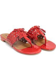 Rasteira Zariff Shoes Laço Vermelho