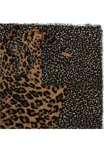 Saint Laurent Cachecol De Lã Colorido Com Estampa De Leopardo - Estampado