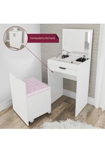 Penteadeira Compacta Com Espelho E Puff Branco E Rosa 408