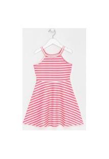 Vestido Infantil Listras Neon Com Glitter - Tam 5 A 14 Anos | Fuzarka (5 A 14 Anos) | Rosa | 11-12